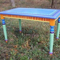 Colorful Hand Painted Dinette Table by LisaFrick on Etsy