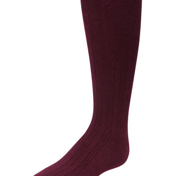 Cotton Cable Tights (Maroon)