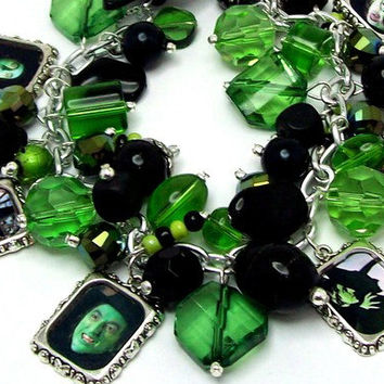 Wicked Witch of the West Charm Bracelet Beaded Altered Art Pictures Beads Silver Plated Cha Cha Wizard of Oz Horror