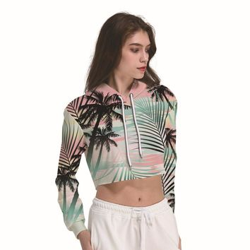 Coconut And Palm Trees Summer Women's Crop Top Hoodie Sweater