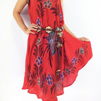 FLD56 Maxi Gypsy Rayon Dress Hippie Boho Hobo Beach Dress Tie Dye Red