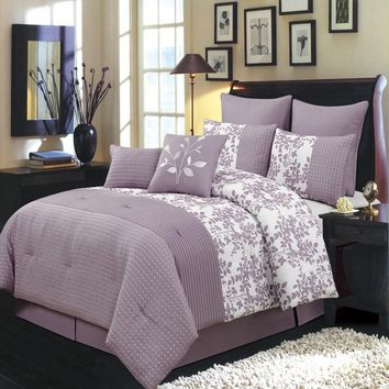 Queen PURPLE Bliss 8PC Luxury Comforter Set