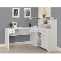 Monarch Specialties 7028 Hollow-Core L Shaped Home Office Desk in White