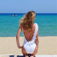 Summer High Quality Sexy Comfortable Backless One-piece Beach Vacation Swimwear [9753217039]