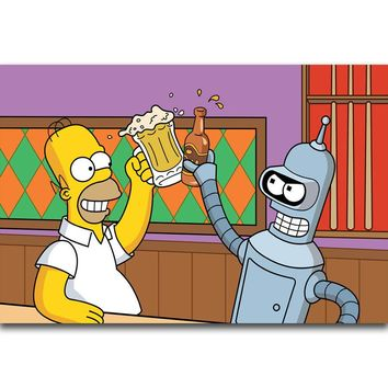 S2721 Futurama Bender and Simpsons Funny Cartoon Drinking Beer Wall Art Painting Print On Silk Canvas Poster Home Decoration