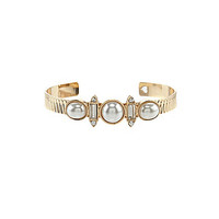 Anna & Ava Crystal and Faux-Pearl Cuff Bracelet