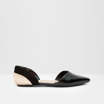 Pointed leather flat d'Orsay shoes