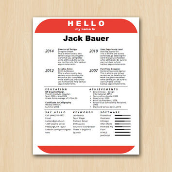 The 'Hello' Nametag Resume Template - Helping You Save Time & Get The Dream Job You Deserve - Instant Download - DocX and Doc Format