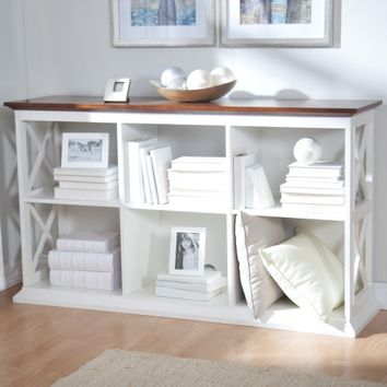 Belham Living Hampton Console Table Stackable Bookcase - White/Oak | www.hayneedle.com
