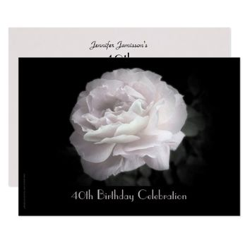 40th Birthday Party Celebration Pale Pink Rose Card