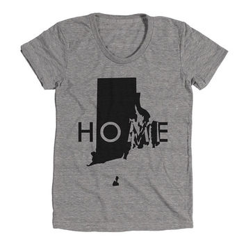 Rhode Island Womens Athletic Grey T Shirt - Graphic Tee - Clothing - Gift