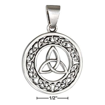 STERLING SILVER ROUND CELTIC TRINITY KNOT PENDANT