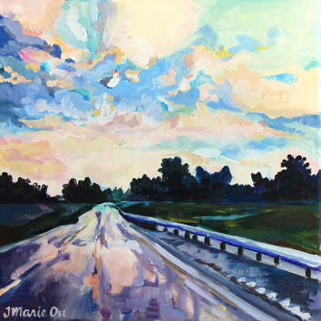 Original 12x12 Country Road Landscape Painting, Acrylic on Canvas