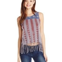 ALMOST FAMOUS Junior's Fringe Muscle Tee with Americana Flag Screen