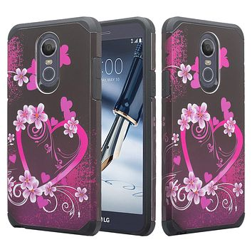 LG Stylo 4, Q Stylus Case, Slim Hybrid Dual Layer [Shock Resistant] Case Cover for LG Stylo 4 - Heart Butterflies