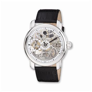 Charles Hubert Mens Leather Band Skeleton Dial Watch
