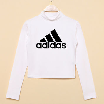 """""""Adidas"""" Fashion Casual Classic  Letter Print Round Neck T-shirt Crop Top"""