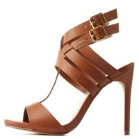 Tan Strappy T-Strap High Heels by Charlotte Russe