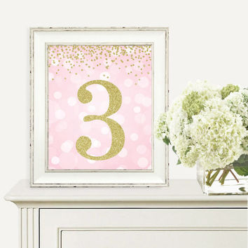 Birthday Print, 3rd Birthday Party Sign, Number 3, 3rd Birthday Party, Third Birthday, Pink and Gold Glitter, Printable Party Decorations