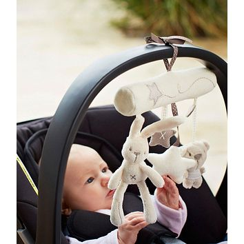 Multifunctional Cute Rabbit Plush Toy Babies Stroller Hanging Musical Pendant Cute Newborn Bed Animal Dolls Rattle Stroller