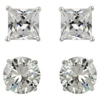 Sterling Silver Cubic Zirconia Duo Stud Earring Set - Clear