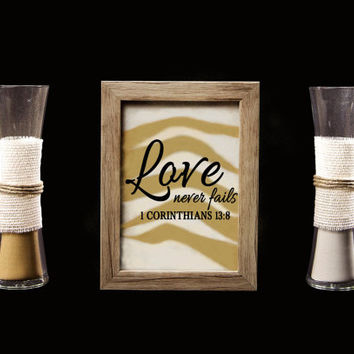Love Never Fails Rustic Barn Wood Wedding Sand Ceremony Frame Set, Unity Set, Sand Shadow Box Frame