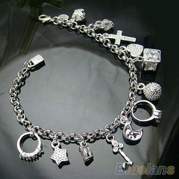 SILVER PLATED 13 CHARMS BRACELET, chain bracelet , cute , cuff bracelet, fashion jewelry , great gift for girls = 1652216708