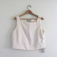 20% OFF STOREWIDE. silk tank top / boxy silk camisole / 90s white silk cropped top / size 12