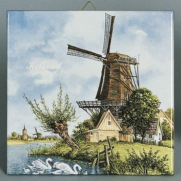 Holland Tile Windmill & Swan Color