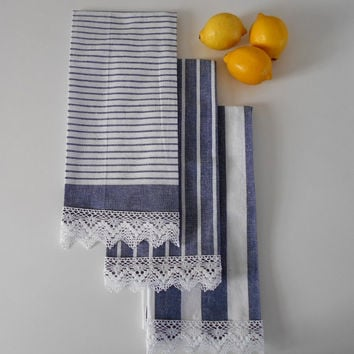Tea Towels Set of 3, Navy Blue Kitchen Towels, Shabby Chic Towels, Lace Towels, Cottage Kitchen Decor, Cotton Towels, Country Home Decor