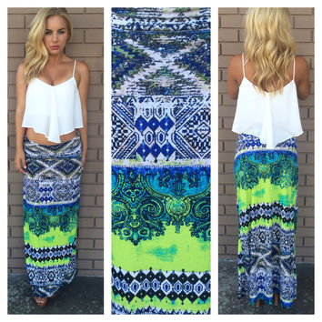 Lime & Blue Bali Roll Down Maxi Skirt