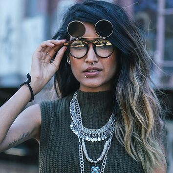 Vintage Retro Steampunk Round Flip Up Clear Lens Glasses