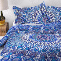 Queen Size Boho Blue Tulip Mandala Duvet Cover & 2 Pillowcases