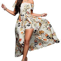Off Shoulder Floral Maxi Romper