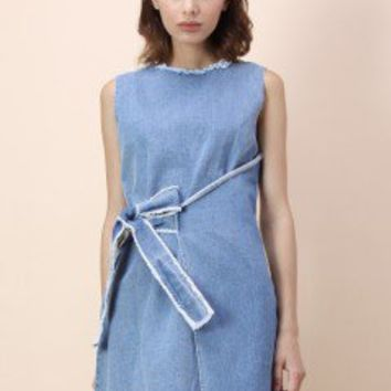 Wrap for Fun Frayed Denim Shift Dress - Dress - Retro, Indie and Unique Fashion