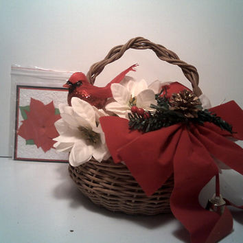 CHRISTMAS POINSETTIA BASKET white Poinsettia Basket With Red Cardinal and Jingle Bell Red Bow Adorable Christmas Basket and Poinsettia Card