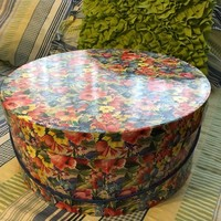 Hat Box Round with Spring Floral Design LARGE Vintage Cardboard Storage Home Decor