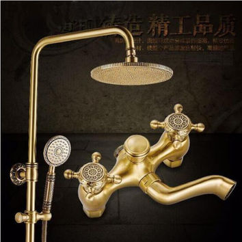 Luxury NEW Antique Brass Rainfall Shower Set Faucet + Tub Mixer Tap + Hand held Shower Bath and shower faucet