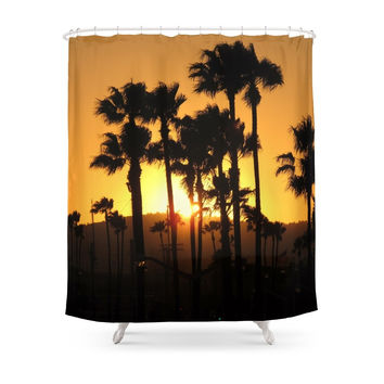 Society6 Palm Tree Hill Sunset Shower Curtain