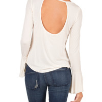 Open Back Flared Long Sleeve Top - Cream - Small