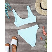 Dippin' Daisy's Sporty Banded Top High Waist Cheeky Bottom Bikini Separates in Mint