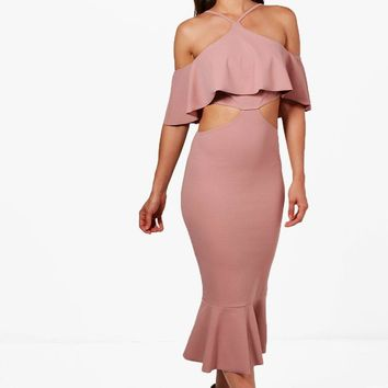 Ash Strappy Frill Detail Cut Out Midi Dress | Boohoo