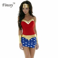 Cosplay Women Wonder Woman Costumes Adult Halloween Costume For Women Party Dress Headdress