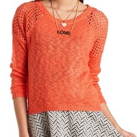 Open Knit Hi-Lo Raglan Sweater
