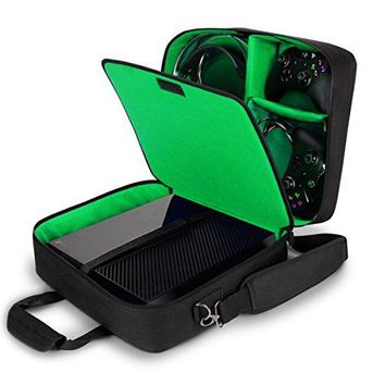 USA Gear Xbox One/Xbox One X Travel Case Carrying Bag for Console, Controllers, Games, Headsets & More with Adjustable Shoulder Strap, Accessory Storage Pockets, Customizable Interior - Green