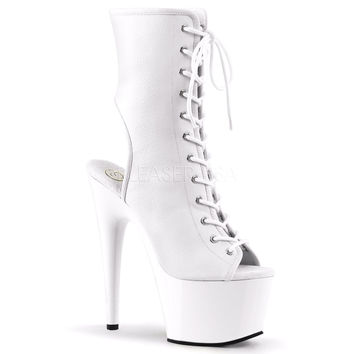 White Lace Up Stripper Ankle Boot 7 Inch Heels