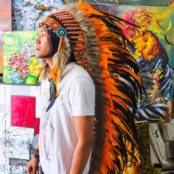 Real Orange Chief Indian Headdress 135cm, Native American Costume Hand Made Feathers War Bonnet Hat