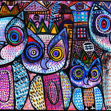 Royal Owl Family  SILBERZWEIG ORIGINAL Art by SandraSilberzweigArt