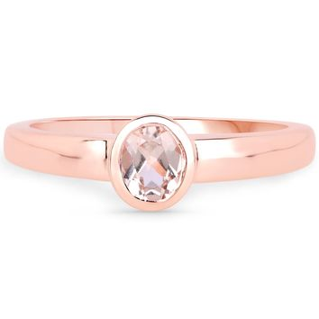 LoveHuang 0.27 Carats Genuine Morganite Oval Bezel Ring Solid .925 Sterling Silver With 18KT Rose Gold Plating