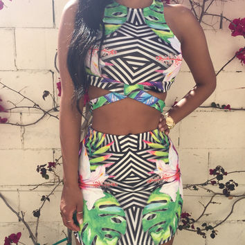 Floral Striped Print Cropped Top and Mini Skirt Bodycon Dress